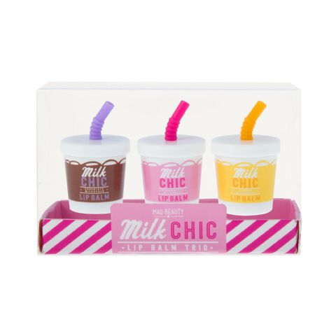 Strawberry, Chocolate & Banana Milkshake Trio Lip Balm Gift Set -  Milk Chic Mad Beauty